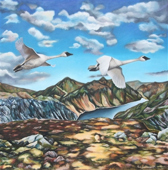 Pamela Sullivan - Heading West Over the Mourne Mountains Oil on Canvas, Paintings
