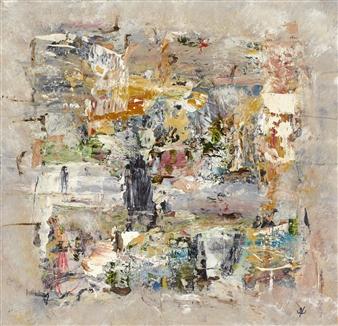 John Kingerlee - Pillar Collage on Indian Paper, Paintings