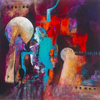 Cindy Parsley - Five Holds the Key Acrylic & Mixed Media on Canvas, Mixed Media
