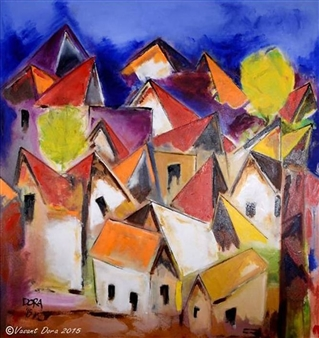 Vasant Dora - Home Steads Oil on Canvas, Paintings