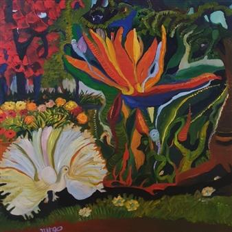 Mira Seeman - Bird of Paradise Oil on Canvas, Paintings
