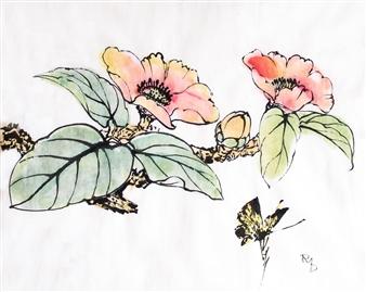 Raúl Mariaca Dalence - Flor de Té Blanca Watercolor & Ink on Paper, Paintings