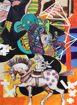 Michael Dolen - Circus Figure on a Horse 872Q Mixed Media on Paper, Mixed Media