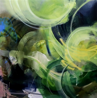 Abreesha Jones - Rise Regardless Acrylic, Spray Paint, Oil Pastel on Canvas, Mixed Media