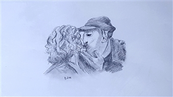 Anna Weichert - The First Kiss Pencil on Paper, Drawings