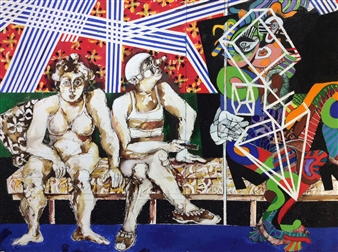 Michael Dolen - Two Circus Figures And Friend 123A Mixed Media on Paper, Mixed Media