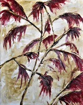 Anne E Chamness - Red Maple Acrylic on Canvas, Paintings