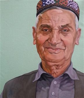 Takumi Kata (TAKU) - Old Man from Kabul Oil on Canvas, Paintings