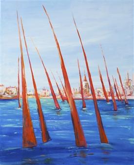 Arttiana - Red Regatta Oil on Canvas, Paintings