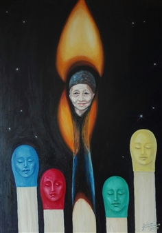 Helena Zyryanova - We are All Matches Oil on Canvas, Paintings