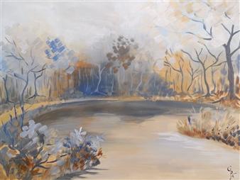 Rita Galambos - Blue Leaves Acrylic on Canvas, Paintings
