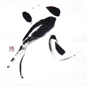 Sempu Nakajima - 花 Flower Handmade Senshi paper, Sheep and weasel hair brush, Oil smoke ink, Mixed Media