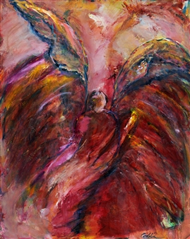 Dede Schuhmacher - Angel of Transendence Acrylic & Oil on Canvas, Paintings