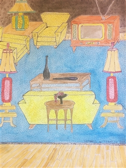 Richard Tomlin - Art Deco with Muntz T.V. Watercolor on Paper, Paintings
