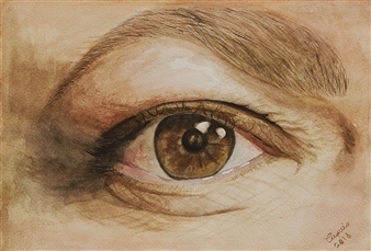 Cuquis Quiroz - The Eye of Wisdom Watercolor on Paper, Paintings