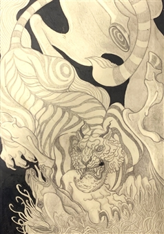Michael Shelef - Tiger & Horse Black Ink & Graphite Pencils on Paper, Drawings