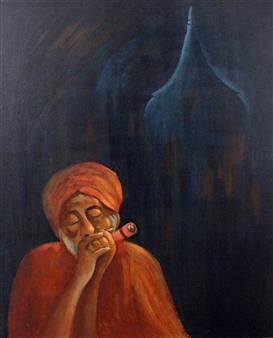 Ketan Kelkar - Sadhu Oil on Canvas, Paintings