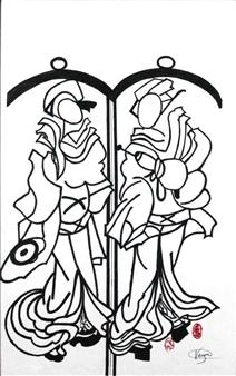 Vega Aramburu - Two Figures Acrylic on Canvas, Paintings