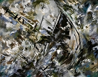 Terry Firkins - Sextant Oil & Mixed Media on Canvas, Mixed Media