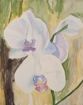 Jonathan Mann - Orchids Acrylic on Canvas, Paintings