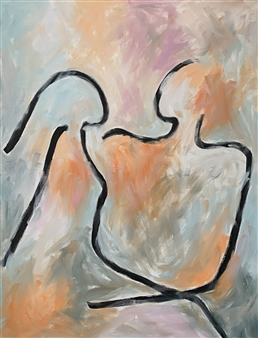 Aila Snickars - Lovers Oil on Canvas, Paintings
