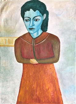Merab Kardava - Woman in Sorrow Oil on Canvas, Paintings