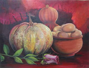 Gilberto Arriaza - Bodegón en Rojo Oil on Canvas, Paintings