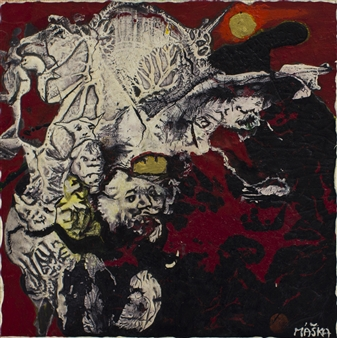 Jiri Maska - King Lear with His Servants Mixed Media on Canvas, Mixed Media