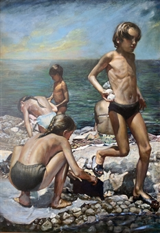 Alexandr Mischan - Gymnastics on the Black Sea (3 of 4) Tempera and Oil on Board, Paintings