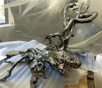 Javier Rivas - Langosta Chromed Wood & Steel, Sculpture