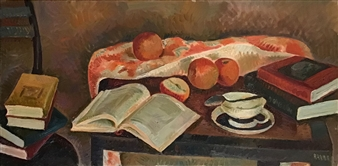 Hana Vater - Still Life with Books_2 Oil on Canvas, Paintings