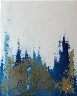 Konka - Clad in Blue and Gold Acrylic on Canvas, Paintings