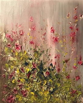 Michael Ocepek - Flowers on the Fence Oil on Canvas, Paintings