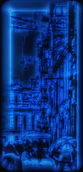 Jesua Marian - The Woman Dressed in Dark and Blue City Archival Pigment Print, Digital Art
