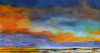 Maria Antonia Mena Lagos - Colorful Sunset Acrylic on Canvas, Paintings