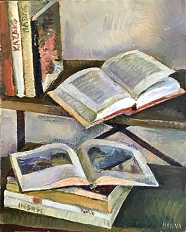 Hana Vater - Still Life with Books_3 Oil on Canvas, Paintings