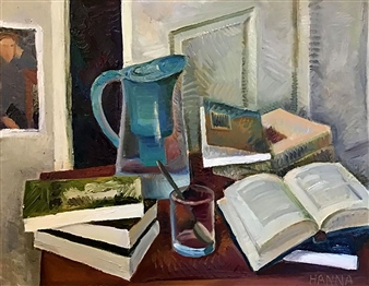 Hana Vater - Still Life with Books_4 Oil on Canvas, Paintings