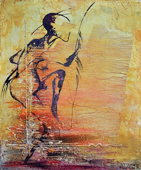 Alagir - Ceremonial Dance Acrylic & Oil on Canvas Board, Paintings