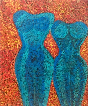 Elke Riedel - Me & You Acrylic & Sand on Canvas, Mixed Media