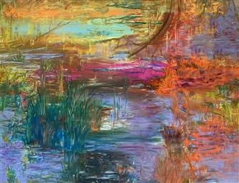 Jodi DeCrenza - Pondoloria Acrylic & Oil on Canvas, Paintings
