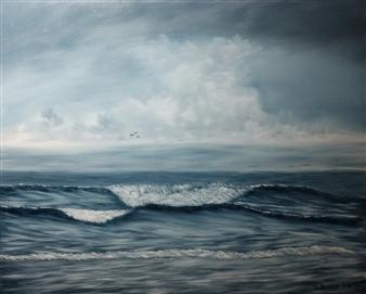 Hezekiah Baker Jr. - Stormy Beach Acrylic & Oil on Canvas, Paintings
