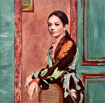 Mehrnosh Kaecker - Waiting Oil on paper, Paintings