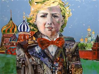 Claudia Mayer-Mallenau - Cosmo Acrylic, Collage & Mixed Media on Canvas, Mixed Media
