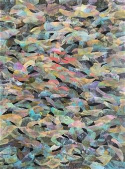 Ellen Globokar - River Rock Collage on Canvas, Mixed Media