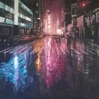 Emanuele Biagioni - Verso Time Square Acrylic on Canvas, Paintings