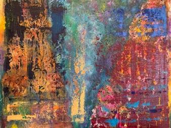 Marianne AuBuchon Devitt - Reverent Reflections Oil & Mixed Media on Canvas, Mixed Media