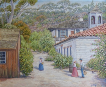 Miguel A. Chavez - Old Town Landscape Oil on Canvas, Paintings