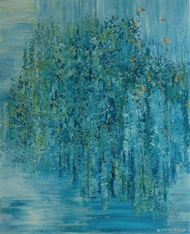 Zvia Merdinger - Blue Mixed Media on Canvas, Mixed Media