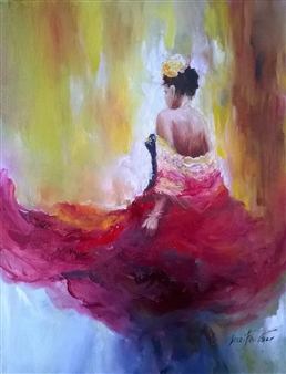 Lizzy Forrester - Swish of Her Skirts Oil on Canvas, Paintings
