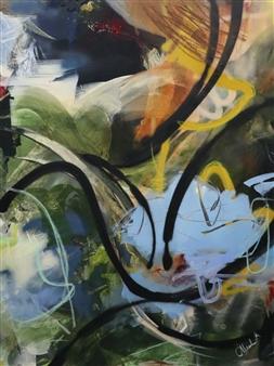 Abreesha Jones - Intentions Acrylic, Spray Paint, Oil Pastel on Canvas, Mixed Media